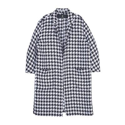hound tooth check coat black